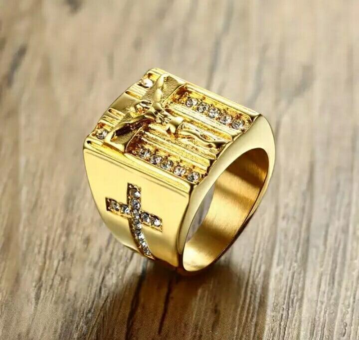 Anéis cristãos em aço inoxidável Jesus , Virgem Maria , Miguel Arcanjo, terço .
