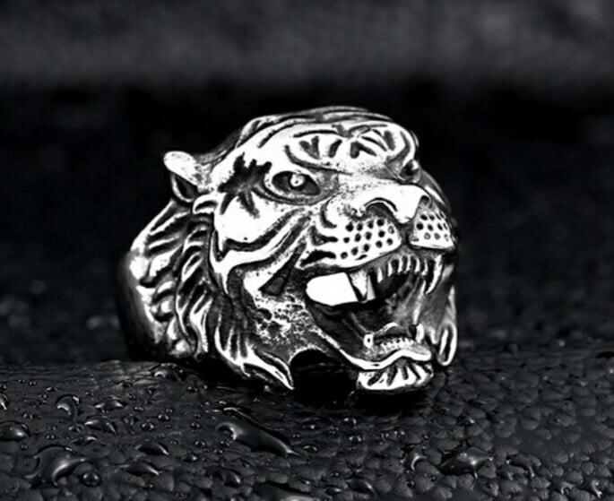 Anel masculino cabeça de tigre em aço inoxidável 316L joia pra vida todo