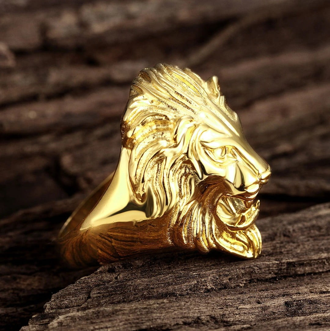 Anel masculino face leão em aço inoxidável 316L alta qualidade