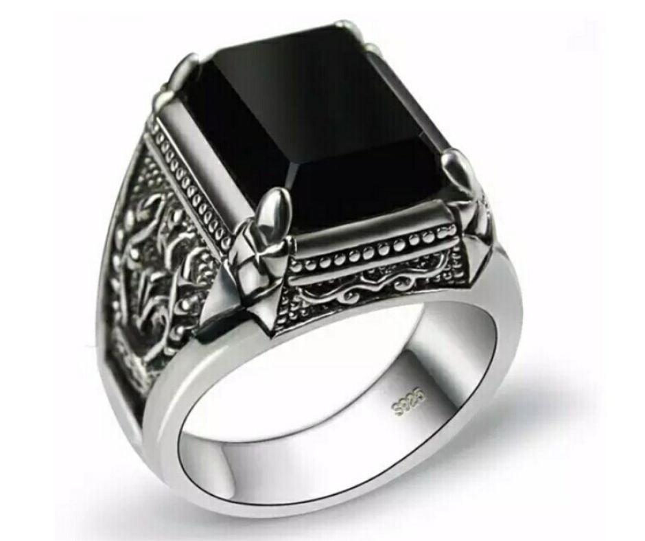 Anel masculino em Prata Esterlina 925 Com Pedra Ônix Joia pra vida toda
