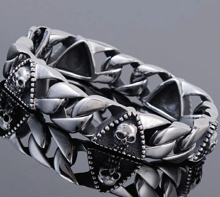 Bracelete de caveira em aço inoxidável 316L