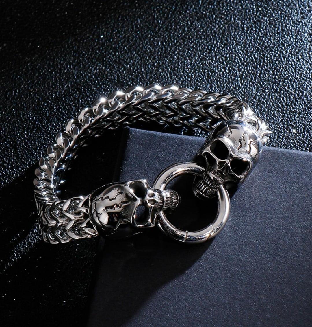 Lindo bracelete de caveira cranio em aço inoxidável 316L joia para a vida toda