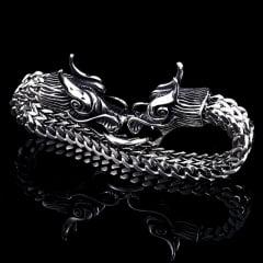 Pulseira Vikings cabeça do dragão Aço Inoxidável 316L Alta Qualidade estilo Nórdico