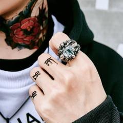 Anéis jóias em Aço Inoxidável 316L garra com olho em pedra Zircon