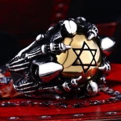 Anel masculino em aço inoxidável 316L estrela de David simbolo de proteção.