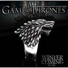 Anel cabeça de lobo da série game of thrones anel em aço inoxidável