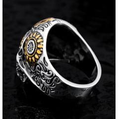Anel de caveira com olhos em pedra zircônia linda joia em aço inoxidável