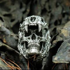Anel masculino caveira dente tigre de sabre em aço inoxidável 316L