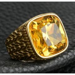 Anel masculino com pedra zircônia em aço inoxidável 316L joia para a vida toda .