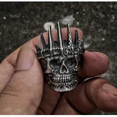 Anel masculino de caveira rei em aço inoxidável 316L