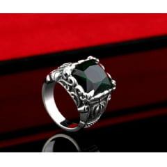Anel masculino Dragon em aço inoxidável com pedra em três opções de cores vermelha , preta e verde