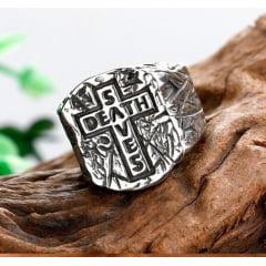 Anel masculino estilo gótico cruz death saves em aço inoxidável 316L