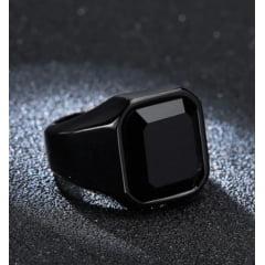 Anel masculino clássico modelo preto com pedra negra ou pera vermelha linda joia .