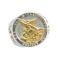 Anel de São Miguel Arcanjo em aço inoxidável 316L uma joia para a vida toda