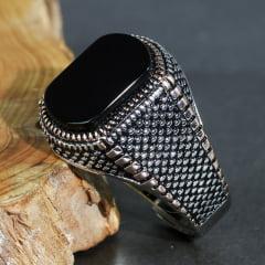 Anel masculino em prata 925 com pedra Ágata natural preta modelo retro
