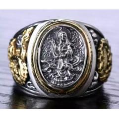 Anel budista bodhisattva em prata 925 com detalhes em ouro peça muito linda
