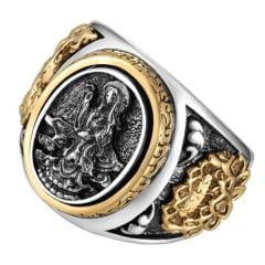 Anel budista bodhisattva em prata 925 com detalhes em ouro peça muito detalhada linda