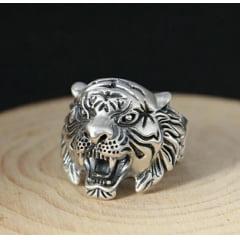 Anel cabeça de tigre em prata 925 tamanho ajustável