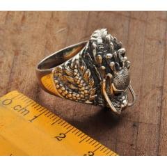 Anel dragão em prata 925 com pedras zirção fino acabamento, anel grande vigoroso muito bonito .