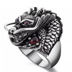 Anel dragão em prata 925 com pedras zircão fino acabamento anel grande vigoroso muito bonito