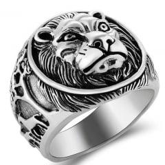 Anel leão em prata 925 fino acabamento linda joia para uma vida toda