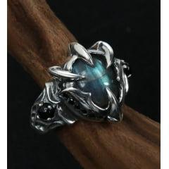Anel masculino artesanal garras em prata esterlina 925 com pedra natural