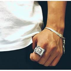 Anel masculino caveira grande vigoroso prata 925 uma linda joia para a vida todo .