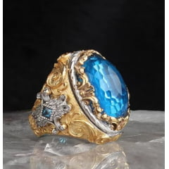 Anel masculino em prata 925 com pedra Topázio um luxo joia maravilhosa .
