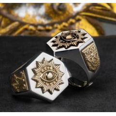 Anel olho da providencia maçonaria em prata 925 com detalhes em ouro 18k joia perfeita