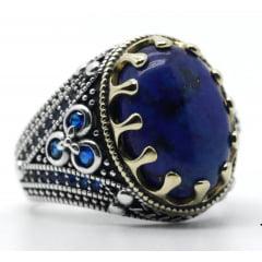 Lindo anel masculino em prata 925 estilo turco com pedra ágata natural joia perfeita .