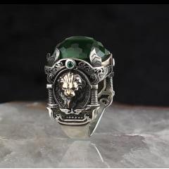 Magnífico anel masculino todo feito a mão em prata esterlina 925 com pedra zircão uma obra prima