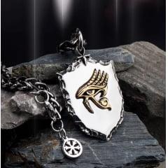 Colar pingente em aço inoxidável olho de Hórus Deus dos Faraós amuleto simbolo de prosperidade poder e proteção .