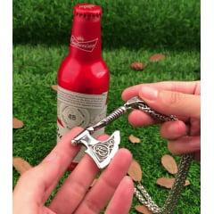 Colar Pingente Vikings Machado abridor de garrafa em aço Inoxidável 316L
