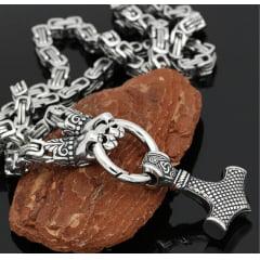 Colar vikings cabeça de leopardo com pingente Mjölnir em aço inoxidável 316L joia para a vida toda
