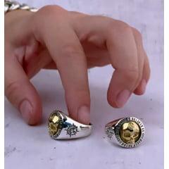 Anel masculino/caveira personalizado em prata esterlina 925 tamanho ajustável .