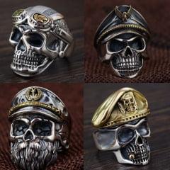Anéis de caveira em prata esterlina  925 com detalhes em ouro