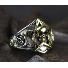 Anel caveira/cranio em prata  esterlina 925 tamanho ajustável