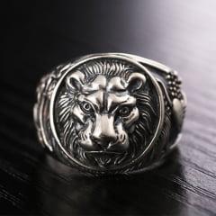 Anéis em prata esterlina 925 modelos leão ,serpente com cranio, garras de dragão com pedra ônix
