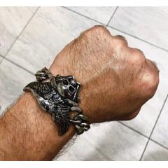 Bracelete águia caveira em aço inoxidável 316L alta qualidade