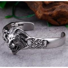 CondBracelete ajustável cabeça de leão em aço inoxidável 316L linda joia para a vida toda