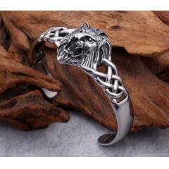Bracelete ajustável cabeça de leão em aço inoxidável 316L uma linda joia para a vida toda