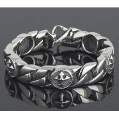 Bracelete crus de malta em aço inoxidável 316L