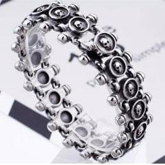 Bracelete de caveira em aço inoxidável 316 L alta qualidade