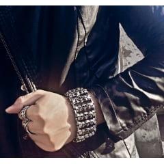 Bracelete de caveiras em açoinoxidável largo estilo punk rock