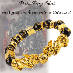 Bracelete de Obsidiana Negra e Pixiu Harmonia das energias riquezas e prosperidade