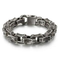 Bracelete em aço inoxidável com gravura quadrada masculina pulseira estilo nórdico.