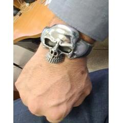 Bracelete masculino caveira em aço inoxidável 316L bracelete gigante pesado .