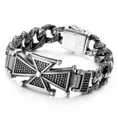 Bracelete nórdico brasão cruz em aço inoxidável 316L joia pra vida todo