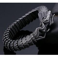 Luxuoso bracelete de dragão em aço titânio joia pra uma vida toda