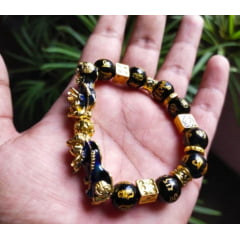 LBracelete de Obsidiana Negra e Pixiu Harmonia das energias riquezas e prosperidade